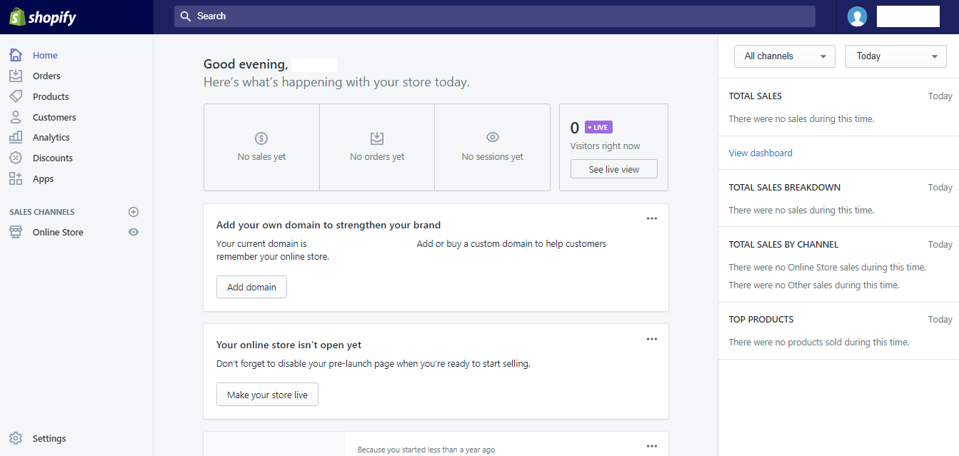 Shopify Dash board live
