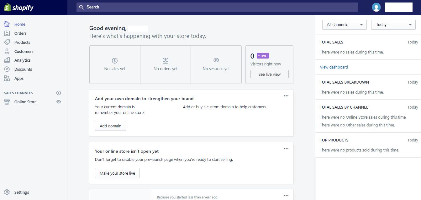 Shopify Dash board