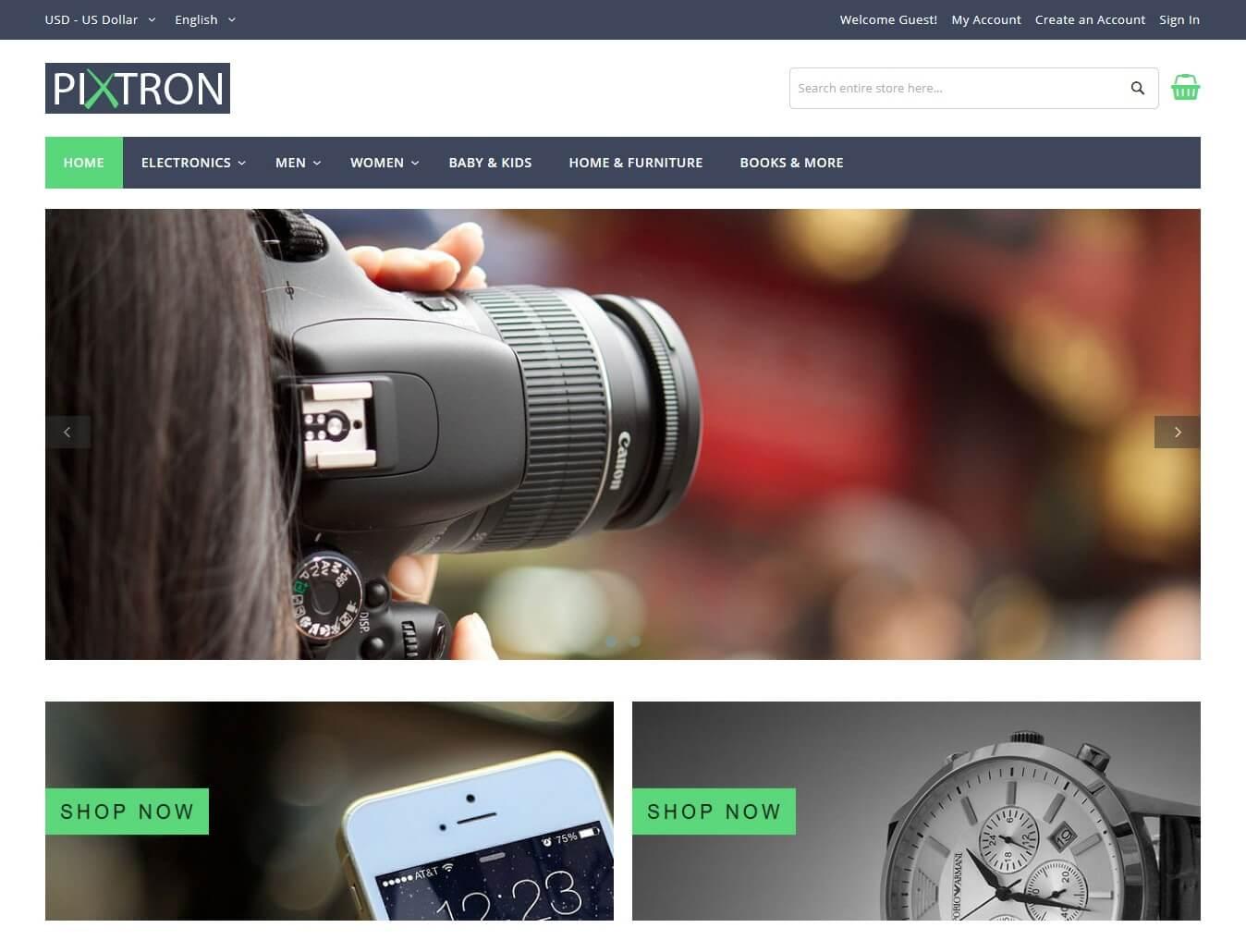 Pixtron Free Magento Theme