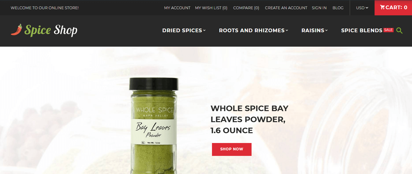 Spice Shop Magento Theme