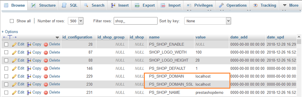 domain-change-prestashop-database