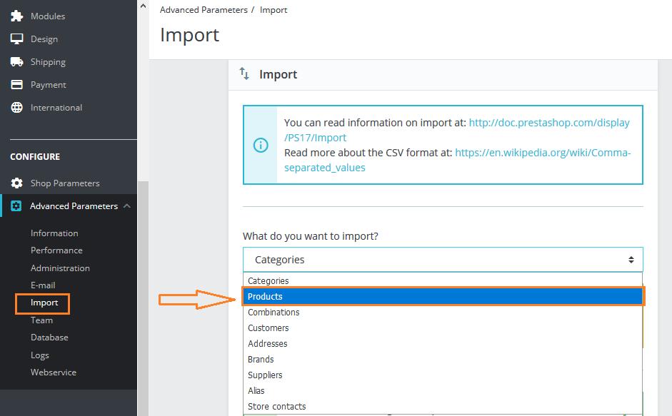 import product csv