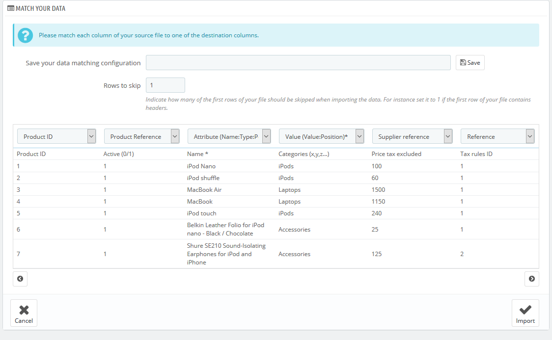 import product data