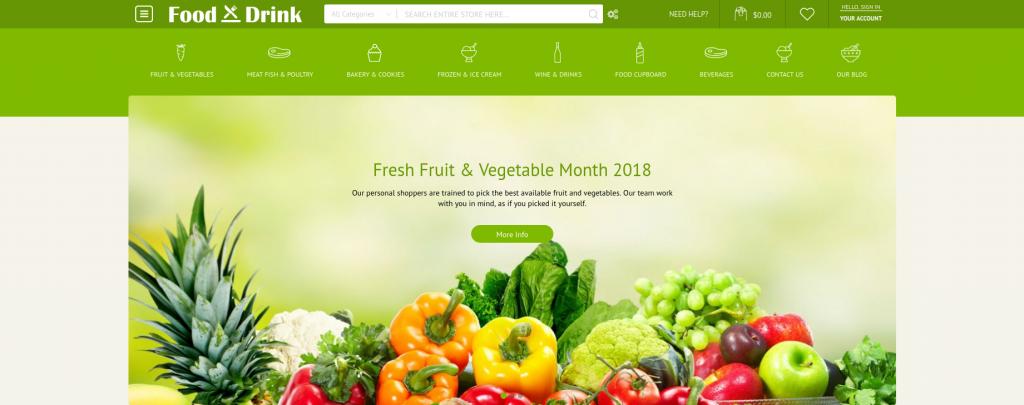 Top Food & Beverages Magento 2 Templates