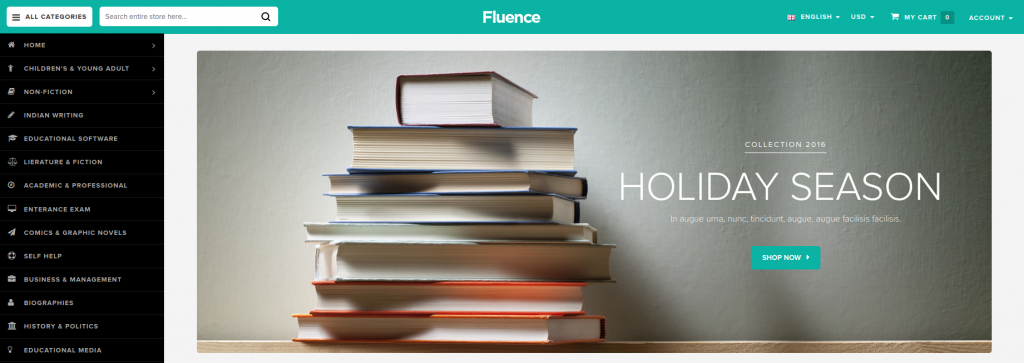 Fluence - Books Store Responsive Magento Theme
