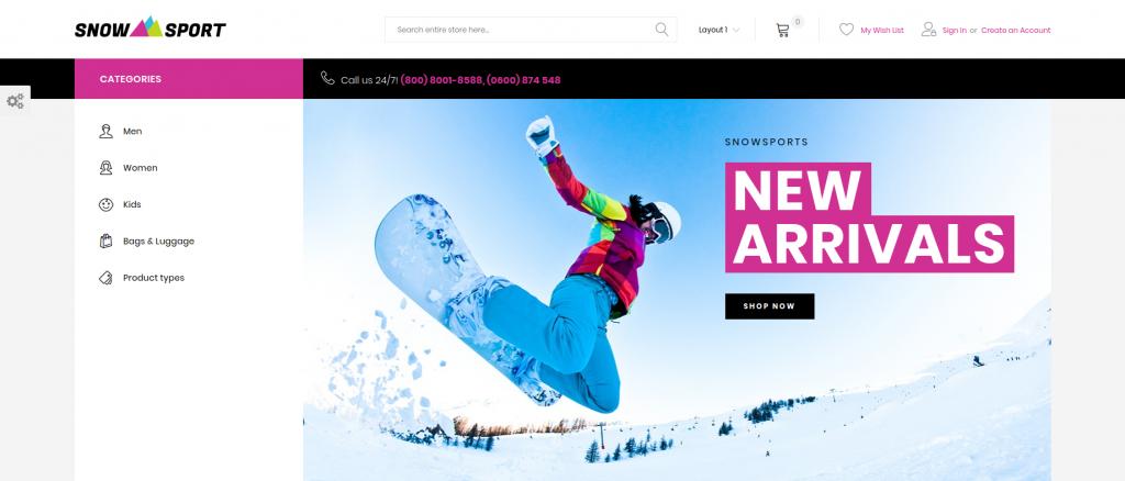 SnowSport - Extreme Sports Gear Magento Theme
