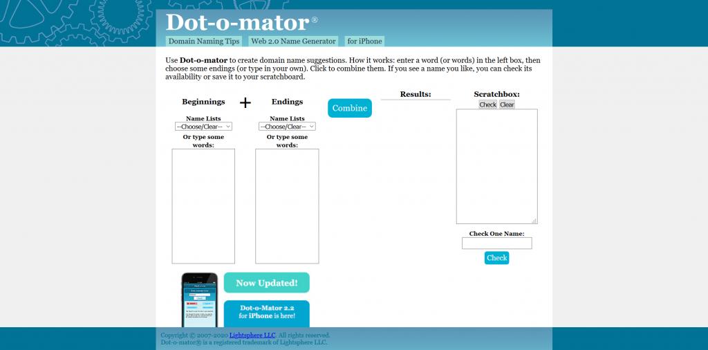 Dot-o-Mator - Domain Name Generator