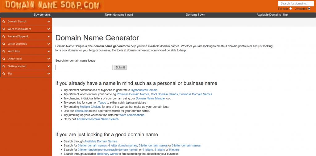 Domain Name Soup - Domain Name Generator