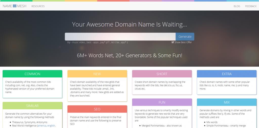 NameMesh - Domain Name Generator