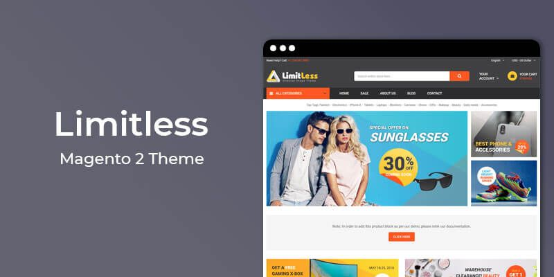Limitless Responisve Marketplace Magento 2 Theme