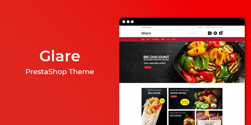 Glare - Restaurant & Online Food Store  Prestashop Theme