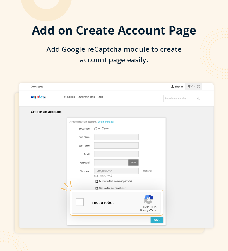 Add on Create Account Page