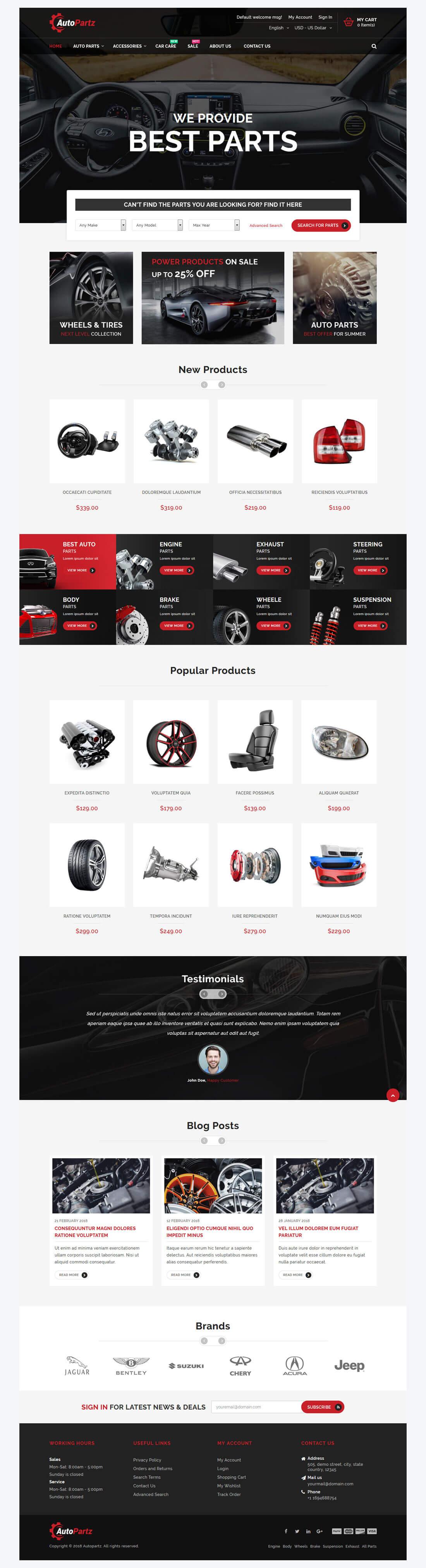AutoPartz - Home Page Overview