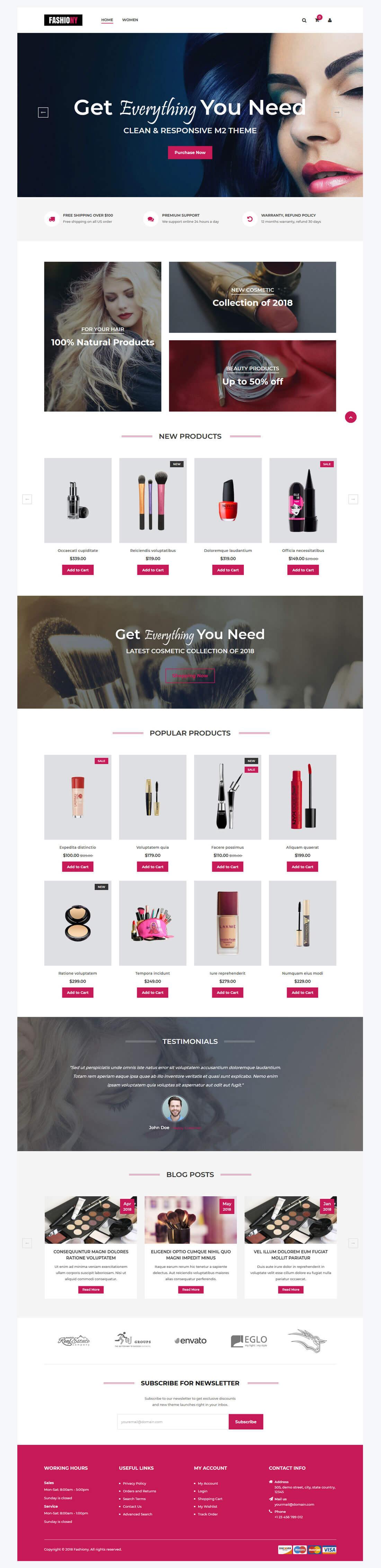 Fashiony - Home Page Overview