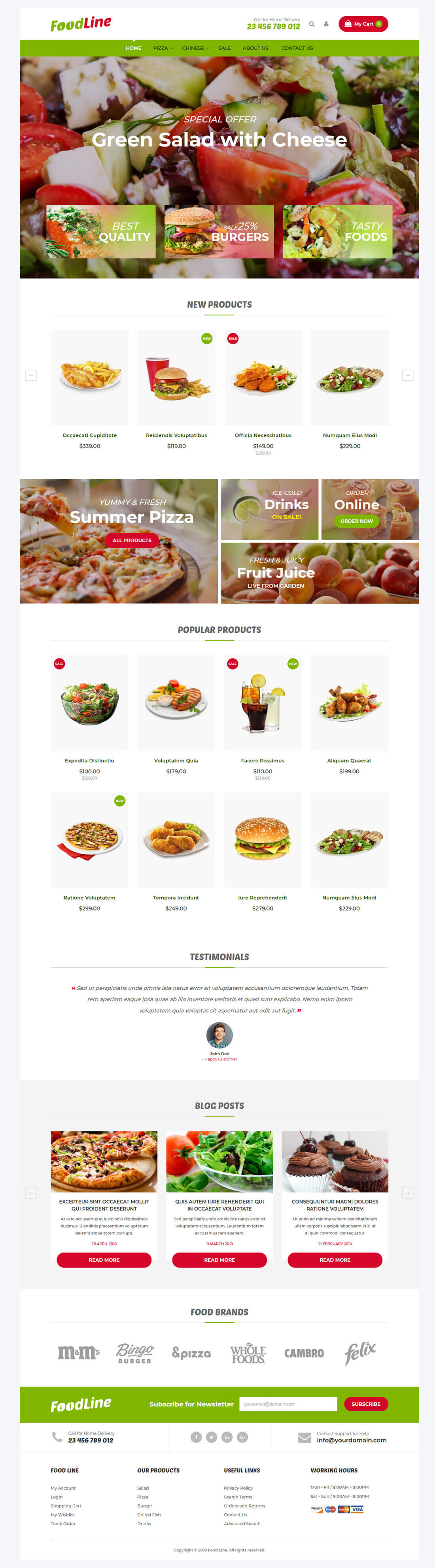Foodline - Home Page Overview
