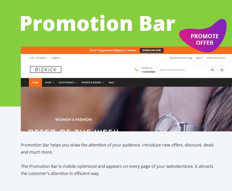 Promotion Bar Free Magento 2 Theme