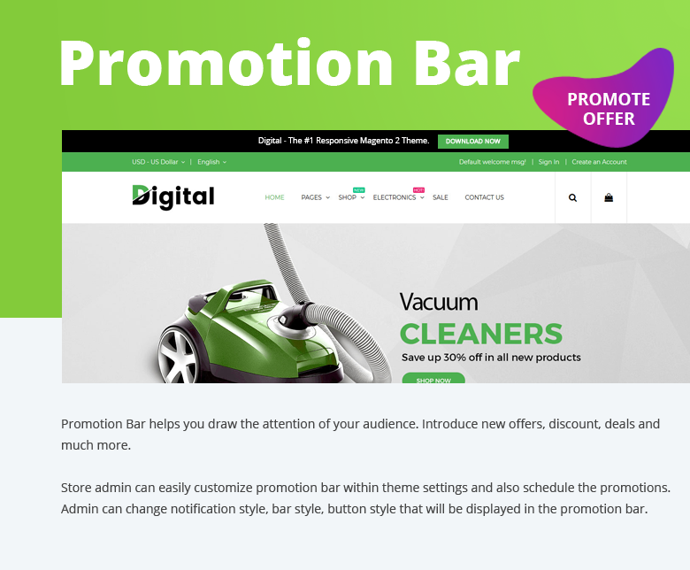 Promotion Bar Magento 2 Theme