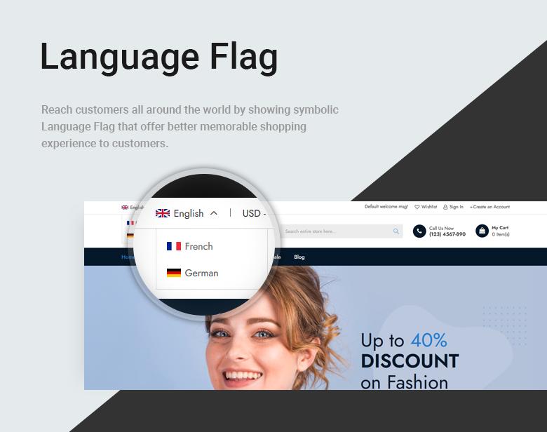Language Flag Free Magento 2 Theme