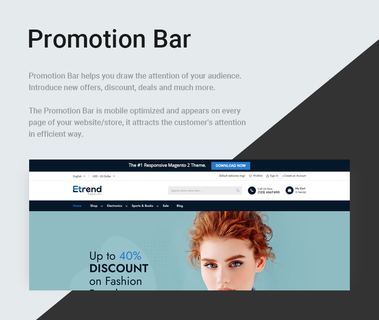 Promotion Bar Free Magento 2 Theme