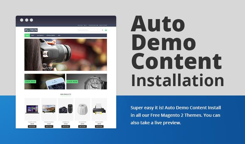 Auto Demo Content Installation Free Magento 2 Theme