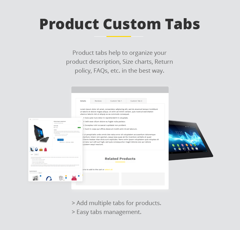 Product Custom Tabs Magento 2 Theme