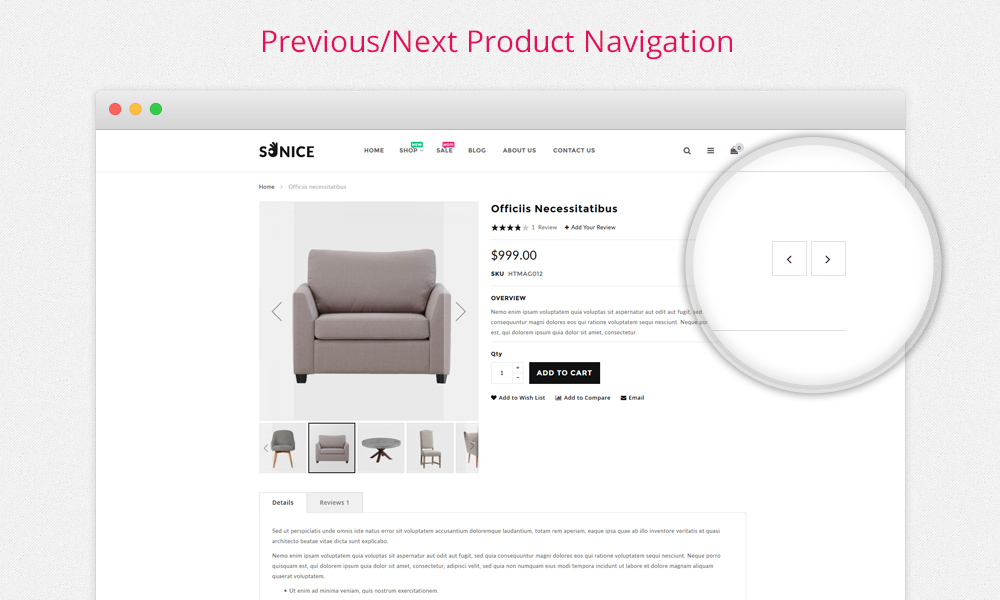 Sonice - Previous Next Product Navigation
