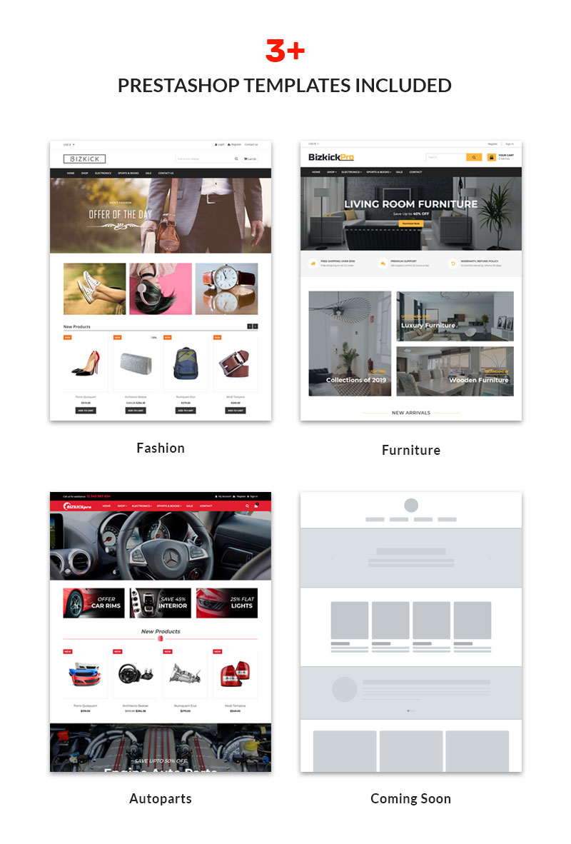 Bizkick PRO Prestashop Template- 3+ Layouts