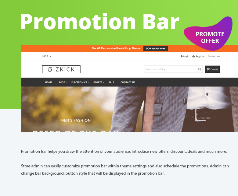 Promotion Bar PrestaShop Theme