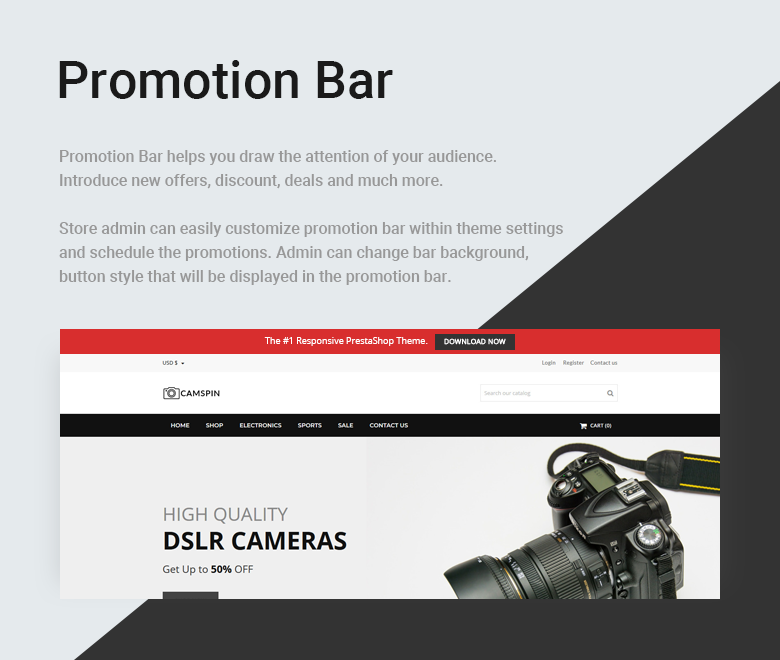 PrestaShop Theme with Promotion Bar