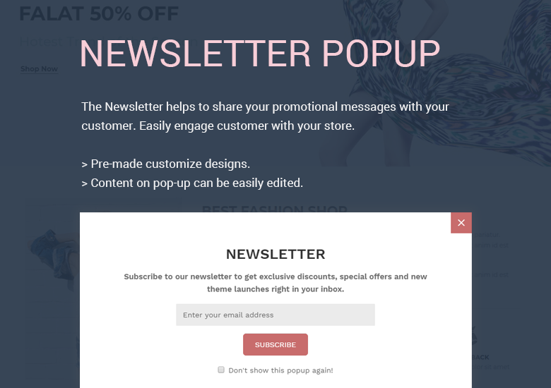 Newsletter Popup PrestaShop Theme