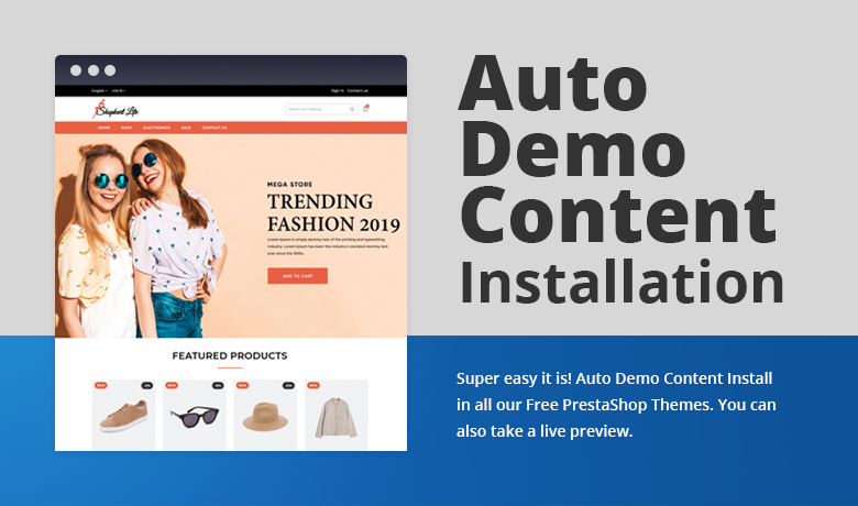 Auto Demo Content Installation Free PrestaShop Theme
